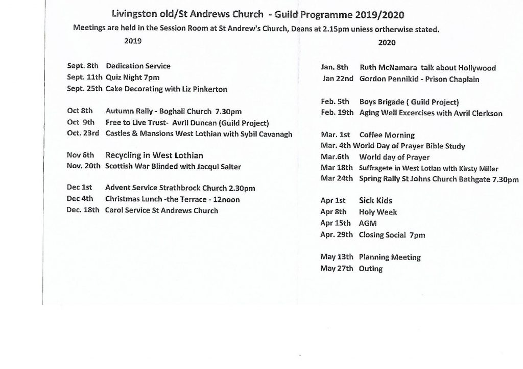 THe Guild Programme: 2019-20